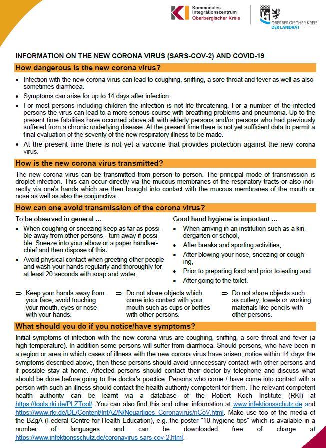 Hinweise zum Coronavirus - englisch