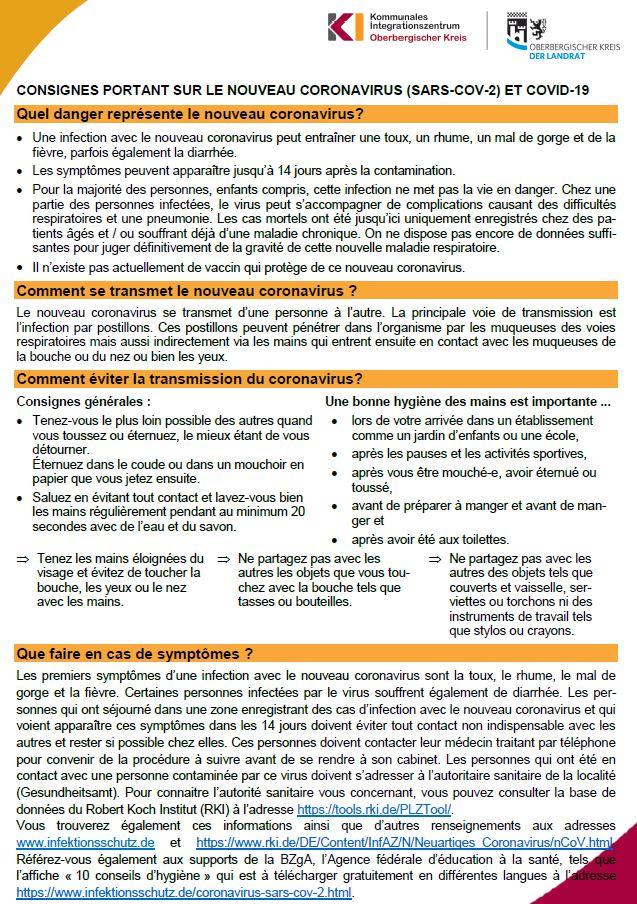 Hinweise zum Coronavirus - französisch